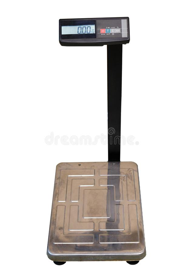 Large floor electronic scale on white background. Industrial scales for weighing large loads with electronic display stock image