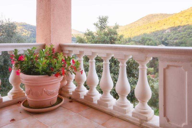 Large flowerpot filled with red flowers on the terrace overlooking the mountains and valley. Near the village of Tourrette Levens in the French department of royalty free stock photos