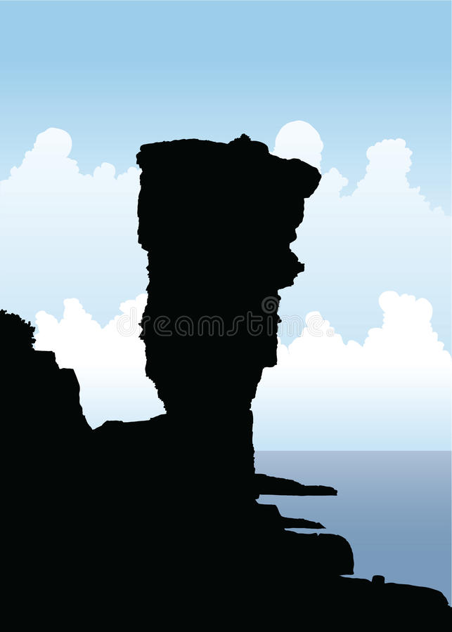 Large Flowerpot. Silhouette illustration of the Large Flowerpot rock structure on Flowerpot Island in Georgian Bay, Canada stock illustration