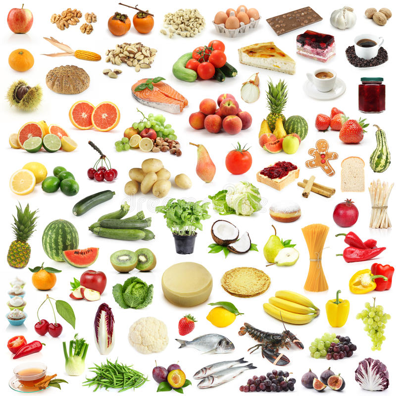 Large food collection stock images