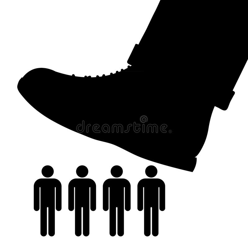 Large foot about to tramp a row of people. Black cartoon vector silhouette of a large foot about to tramp a row of people conceptual of oppression, tyranny and royalty free illustration