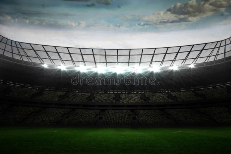 Large football stadium under blue sky stock illustration