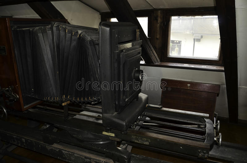 Large format camera. In museum stock images