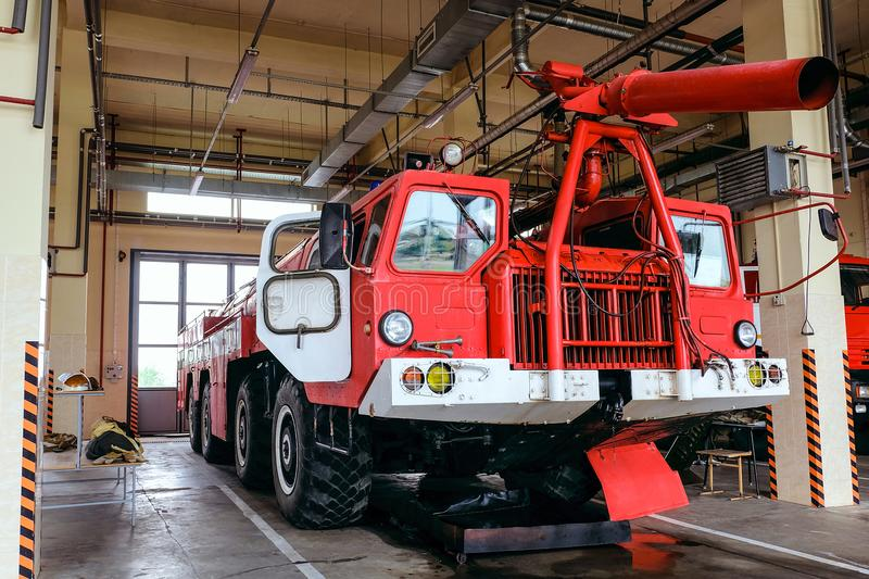 Large four-axle airfield fire truck stock photos