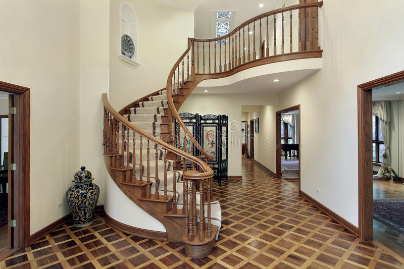 Foyer Stairs Review : Large foyer with circular staircase stock image of