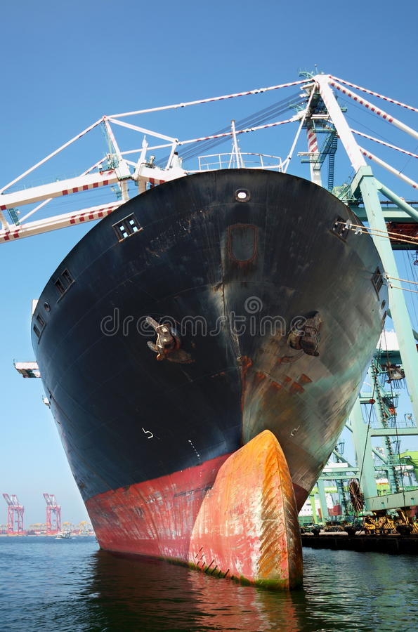 Large Freight Ship Is Loaded Royalty Free Stock Photos