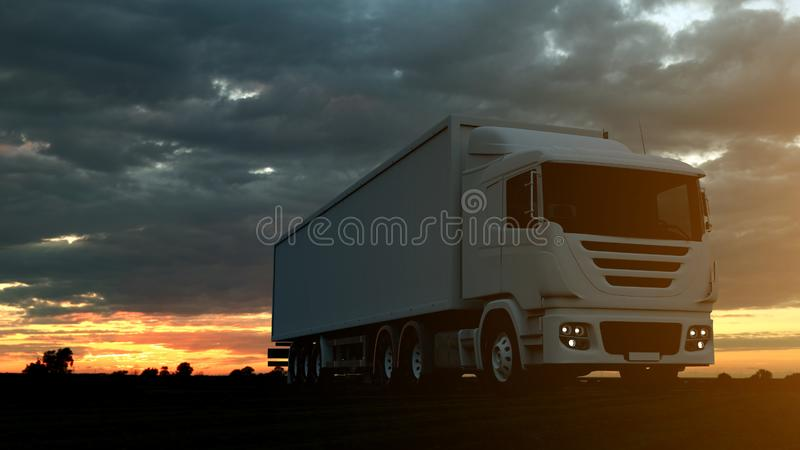 Large freight truck driving on a highway at sunset backlit by a bright orange sunburst under an ominous cloudy sky. 3d Rendering royalty free illustration