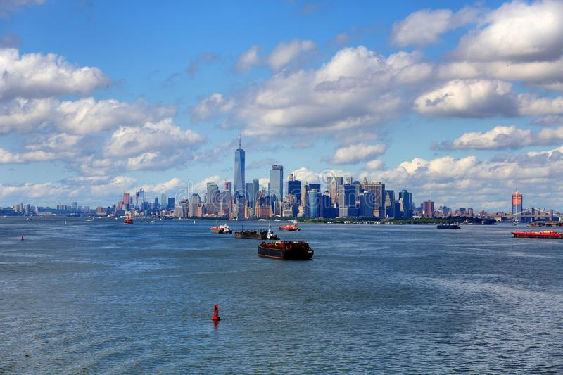 Large Freighters and New York City royalty free stock photography