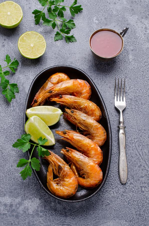 Large fried shrimp with citrus royalty free stock images