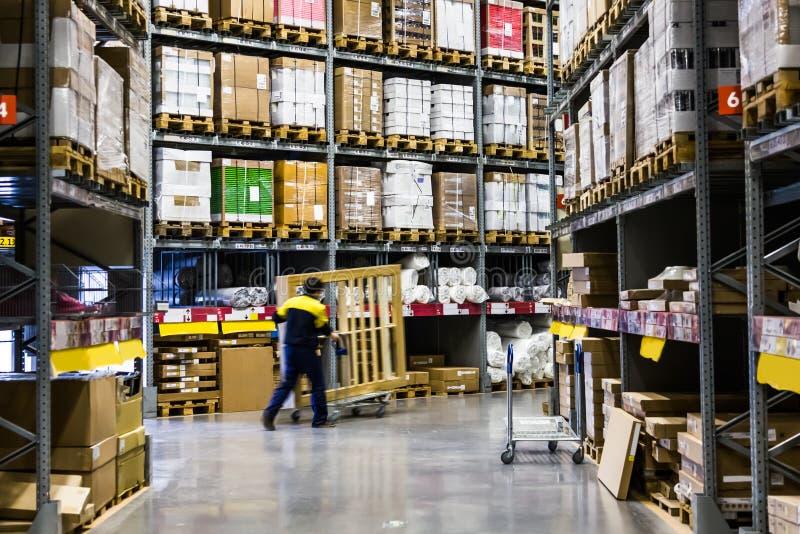Large furniture warehouse stock images