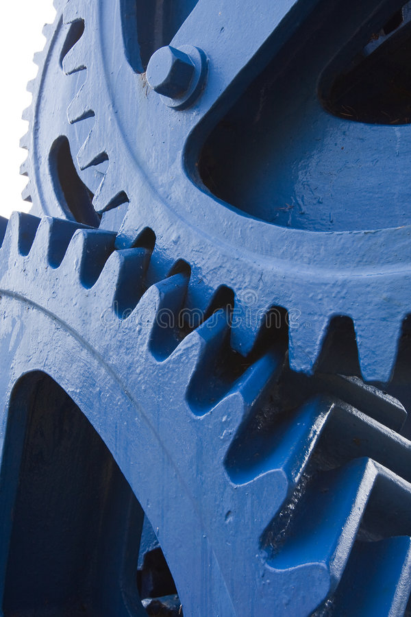 Large gears. Massive cogs from a large hydraulic mangle royalty free stock photos