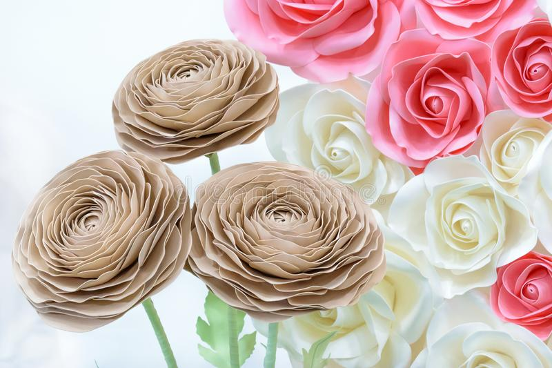 Large Giant Paper Flowers. Big pink, white, beige Rose, peony made from paper. Pastel paper background pattern lovely style. Flowe stock image