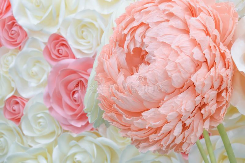 Large Giant Paper Flowers. Big pink, white, beige Rose, peony made from paper. Pastel paper background pattern lovely style. Flowe stock photo