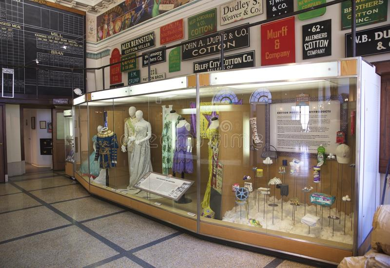 Large glass display in the Memphis Cotton Museum stock photo