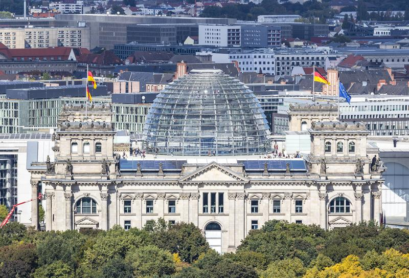 Roof of German parliament building Bundestag in Berlin, German royalty free stock photos