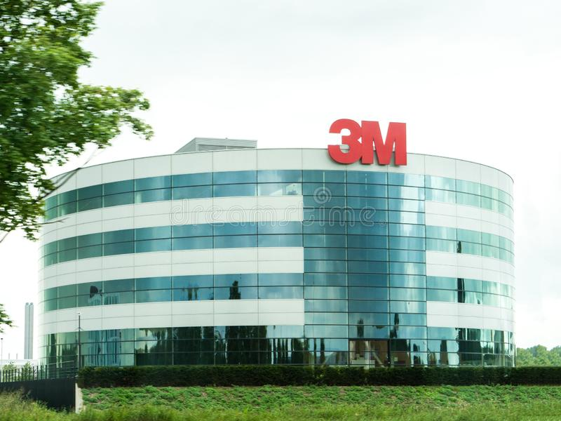 Large glass facade of 3M Netherlands B.V. headuarter. Netherlands - Aug 29, 2019: Large glass facade of 3M Netherlands B.V. headuarter of the Minnesota Mining royalty free stock images