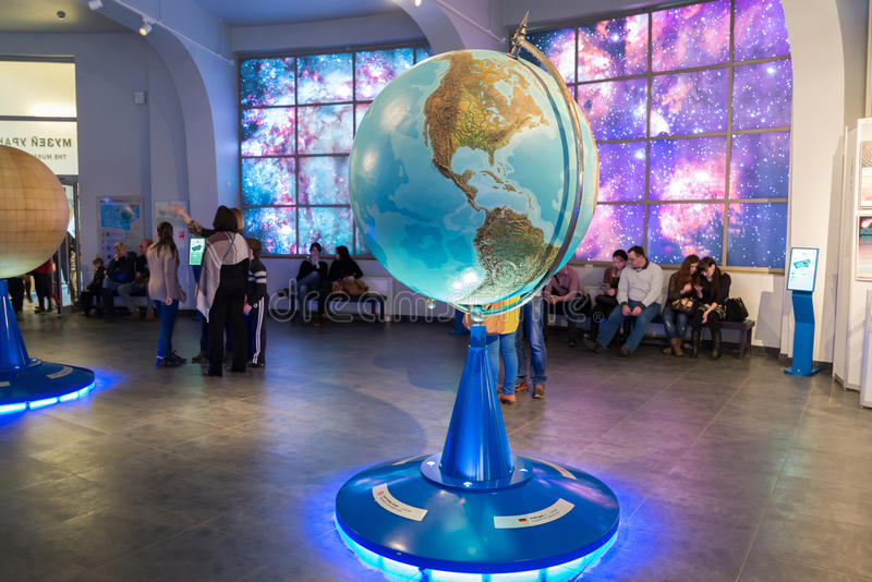 Large Globe in Museum Urania of Moscow Planetarium, Russia royalty free stock image