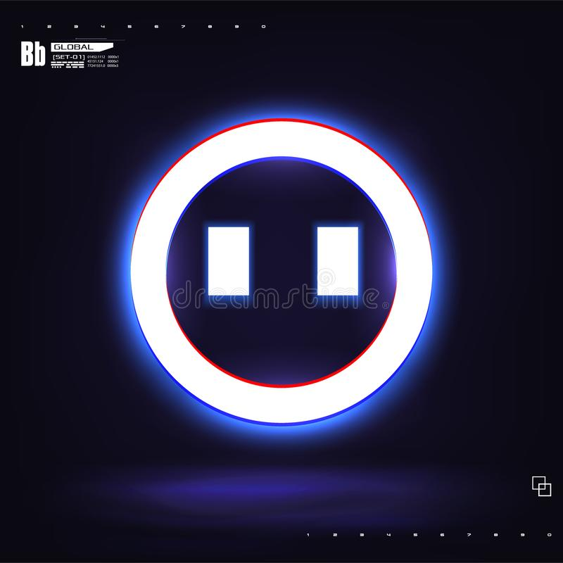 A large glowing neon smile sircle stock illustration