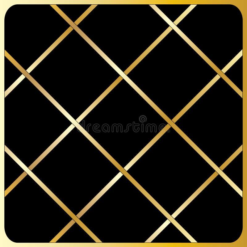 Large gold diagonal lines, Black Background. Large cage, gold pattern, Black Background. Seamless modern pattern of the gold cage on a black background for stock illustration