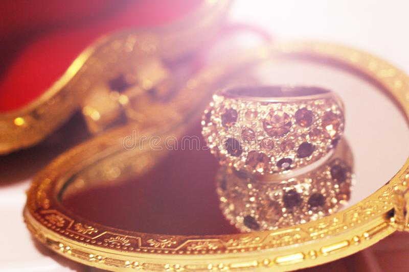 Large gold ring with stones royalty free stock image