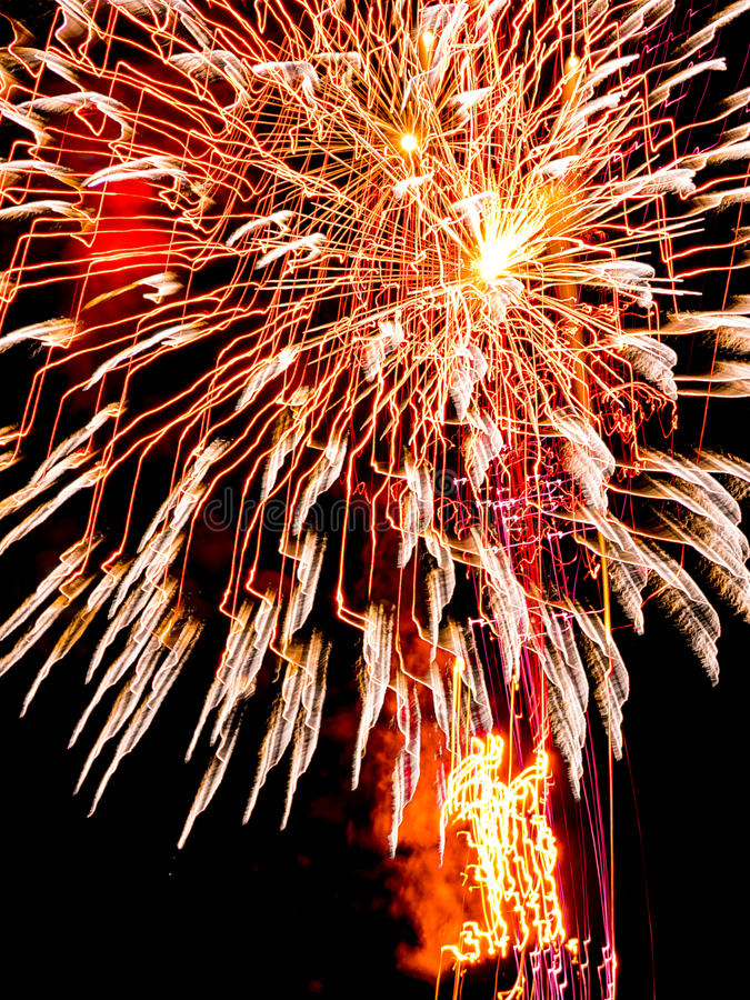 Large Golden burst sparkles.Spectacular fireworks royalty free stock photo