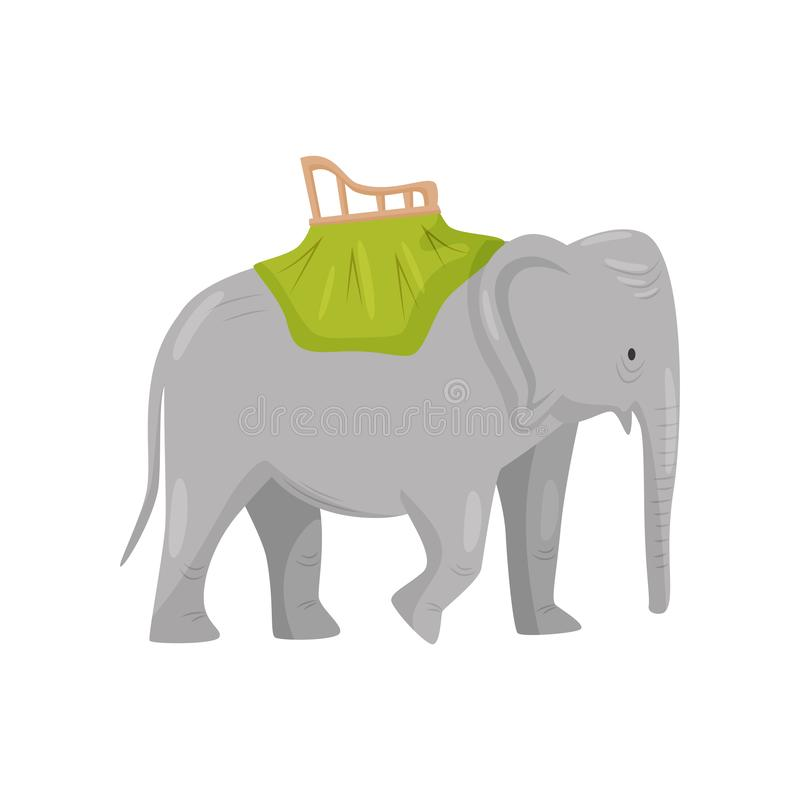 Large gray elephant with chair on back. Activity for tourists. Travel to Bali, Indonesia. Flat vector design stock illustration
