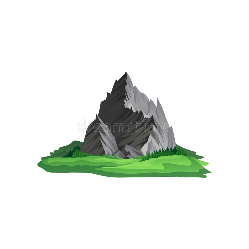 Large gray mountain with sharp peaks surrounded with bright grass. Climbing or trekking theme. Flat vector design. Large gray mountain with sharp peaks royalty free illustration