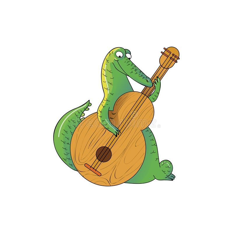 Large green crocodile playing on wooden guitar. Wild humanized alligator. Funny cartoon character. Vector icon stock illustration