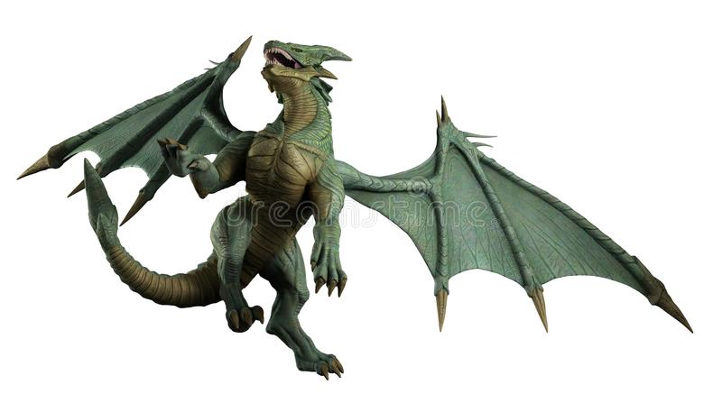 Large Green Dragon - turning. Large green dragon turning in flight, 3d digitally rendered illustration stock illustration