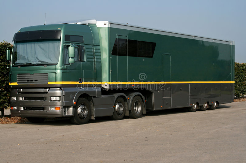 Large green support truck