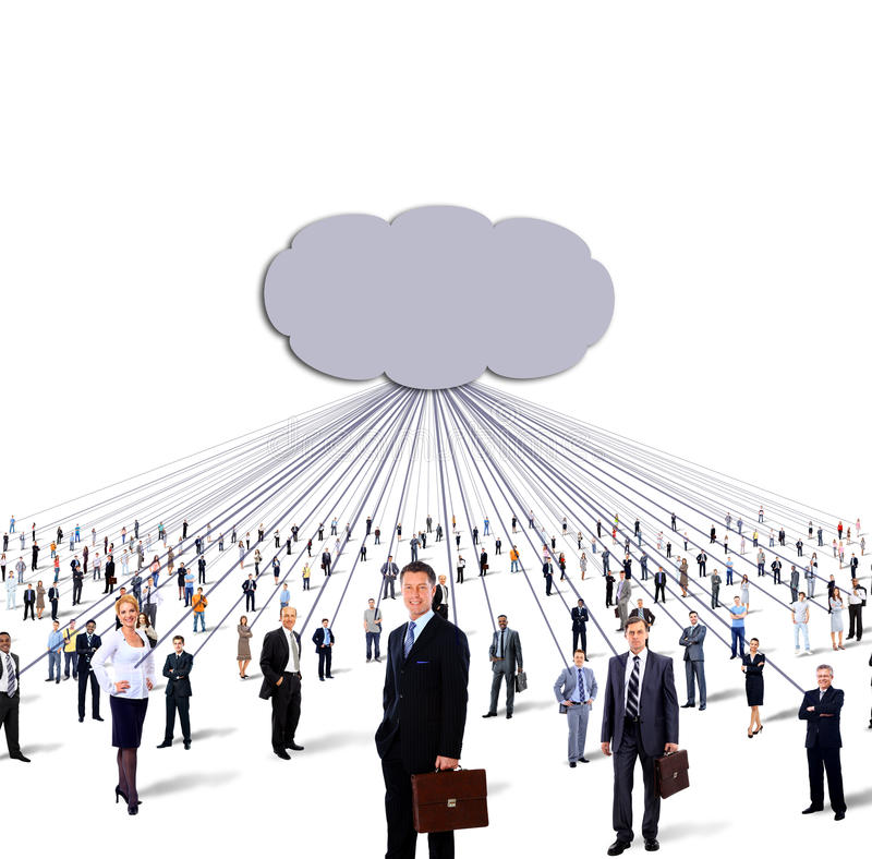 Large group of business people and cloud royalty free stock photography