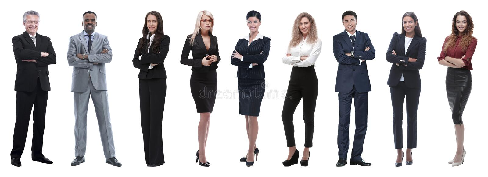 Portrait of friendly business team standing. Large group of business people. Isolated over white royalty free stock photography