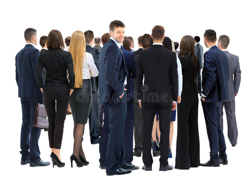 Large group of business people. Over white background stock photography