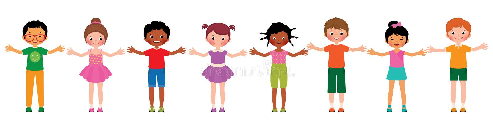 Large group of children of different ethnic vector illustration