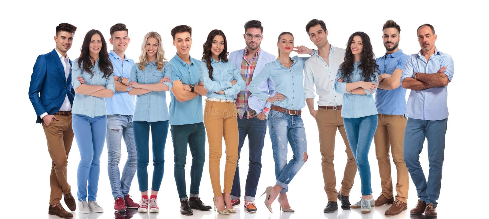 Large group of confident work colleagues posing together royalty free stock images