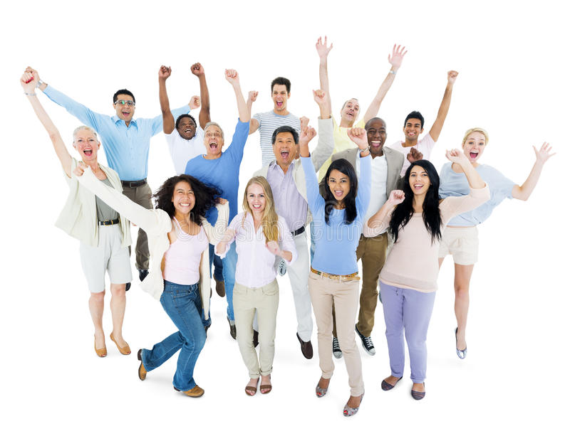 Large Group of Diverse People Celebrating Together royalty free stock photography
