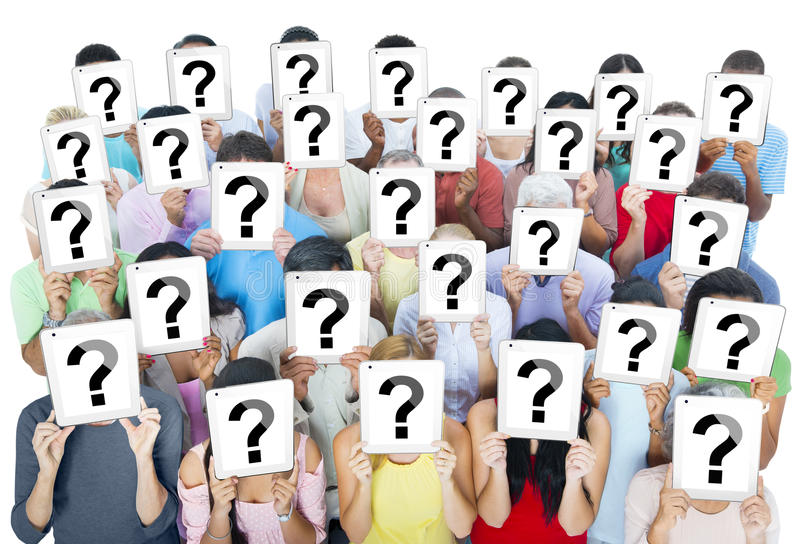 Large Group of Diverse People Holding Question Marks.  stock photos