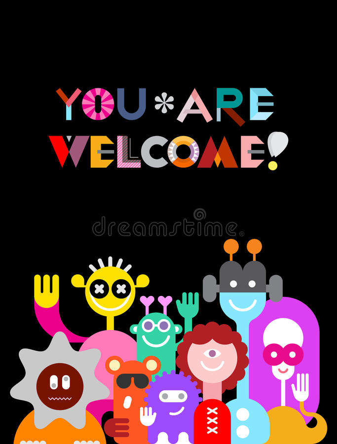 Large Group of Funny Aliens. Large group of friendly funny aliens isolated on a black background . They are smiling and waving their hands. Colorful vector royalty free illustration