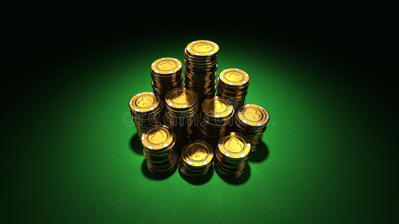 Large group of gold casino chips. 3d rendering of large stacks of gold casino chips on green felt in 16:9 stock illustration