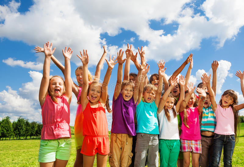 Large group of happy kids stock photography