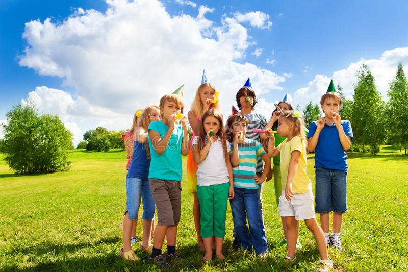 Large group of kids on birthday party royalty free stock photography