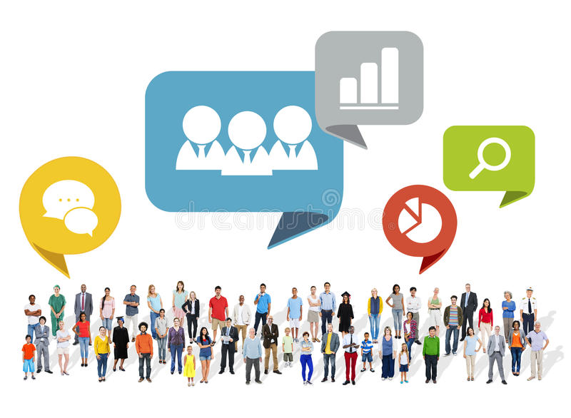 Large Group of Multiethnic People with Social Media Symbols.  stock illustration