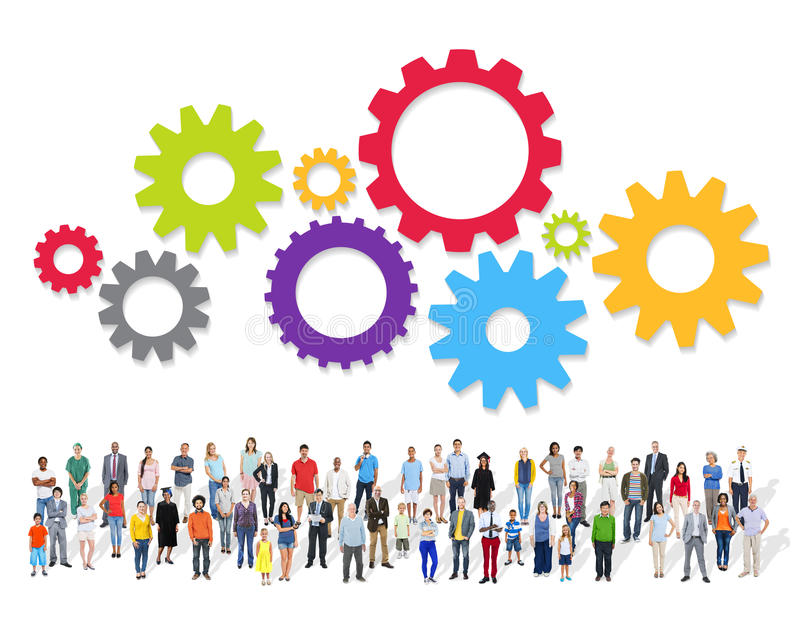 Large Group of Multiethnic People with Teamwork Symbol royalty free stock images