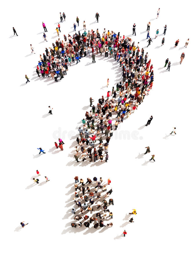 Free Large Group Of People With Questions Royalty Free Stock Images - 41461079