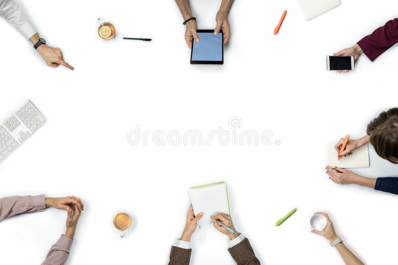 Large group of people at business meeting, top view. royalty free stock photo