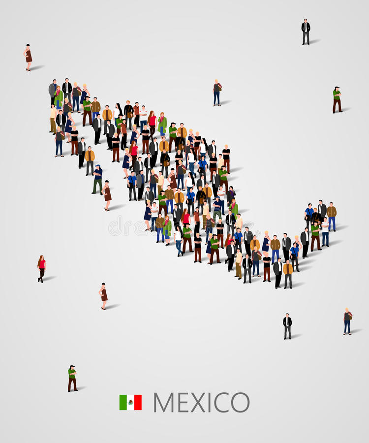 Large group of people in form of Mexico map. Background for presentation. vector illustration