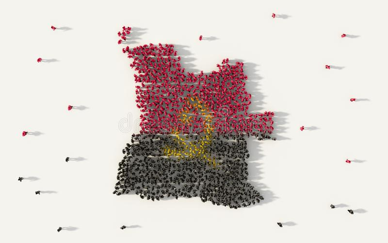 Large group of people forming Angola map and national flag in social media and community concept on white background. 3d sign. Symbol of crowd illustration from stock illustration