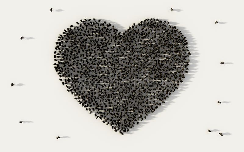 Large group of people forming a black heart symbol in social media and community concept on white background. 3d sign of crowd. Illustration from above gathered vector illustration
