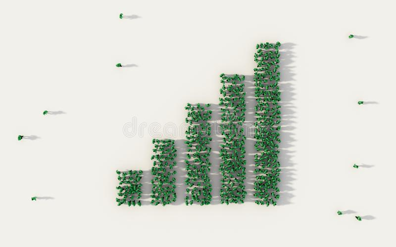 Large group of people forming column graph or bar chart symbol in social media and community concept on white background. 3d sign vector illustration