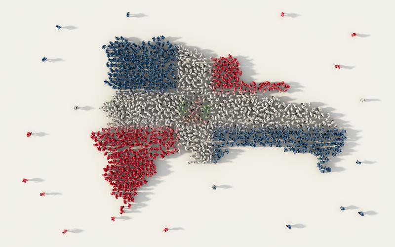 Large group of people forming Dominican Republic map and national flag in social media and community concept on white background. royalty free illustration